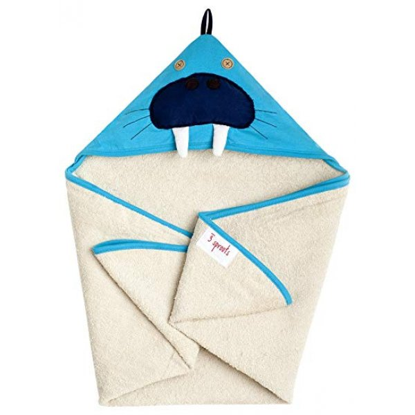 3Sprouts Hooded Towel, Walnus – Soft Cotton Hood...