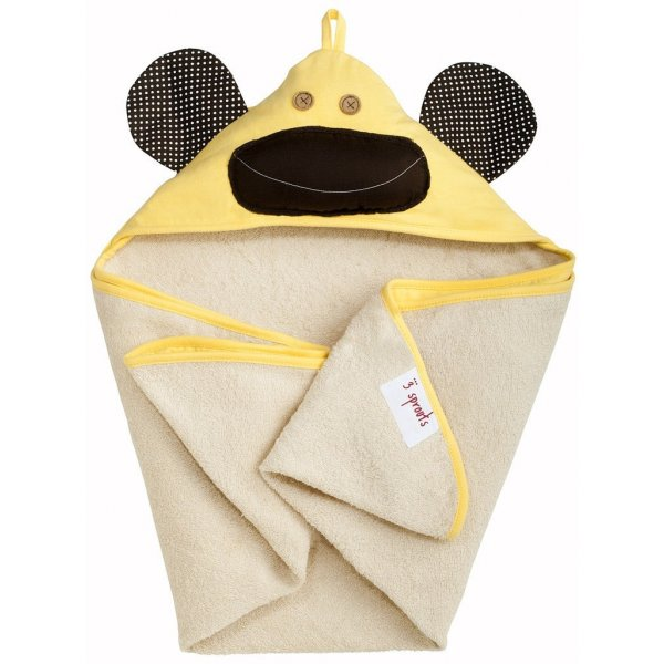 3Sprouts Hooded Towel, Yellow monkey – Soft Cott...