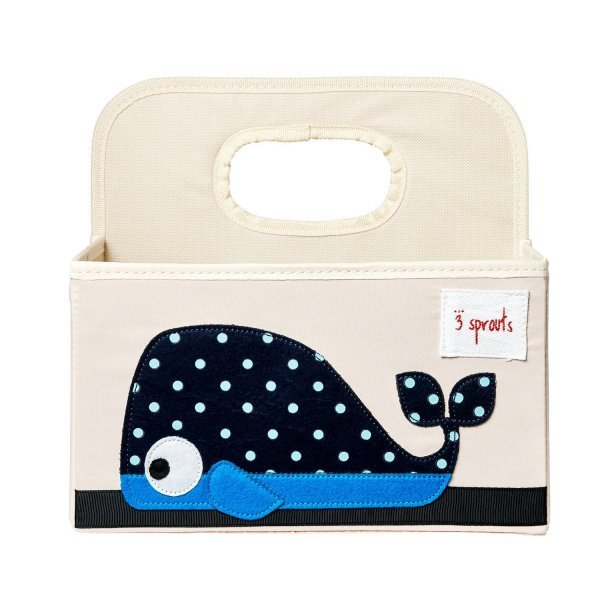 3sprouts Baby Diaper Caddy, Whale - Organizer Basket for Nursery