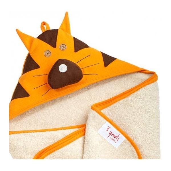 3Sprouts Hooded Towel, Tiger – Soft Cotton Hooded Baby Bath Towel for Toddler, Infant