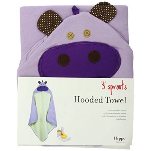 3Sprouts Hooded Towel, Hippo – Soft Cotton Hoode...