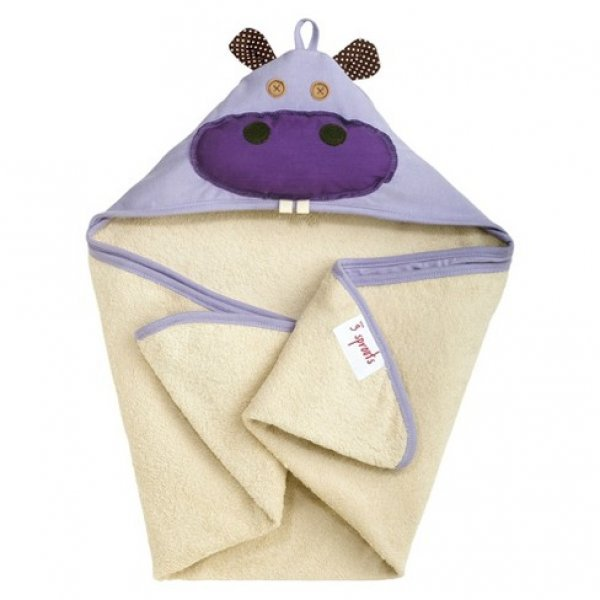 3Sprouts Hooded Towel, Hippo – Soft Cotton Hooded Baby Bath Towel for Toddler, Infant