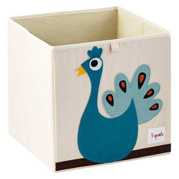 Cube Storage box - organizer container for kids and toddlers - Peacock