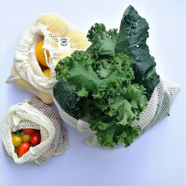 Organic cotton mesh produce bag – set of 3