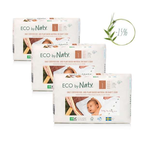 Naty Size 1 Eco Nappies For Babies 2-5 Kg (3 Packa...