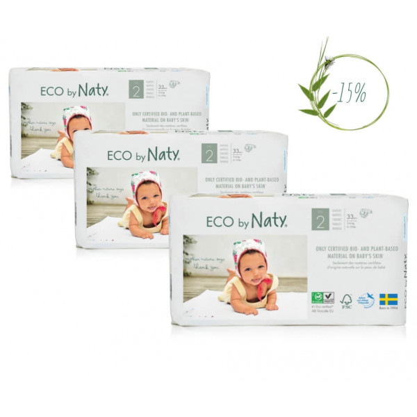 Naty Size 2 Eco Nappies For Babies 3-6 Kg (3 Packa...