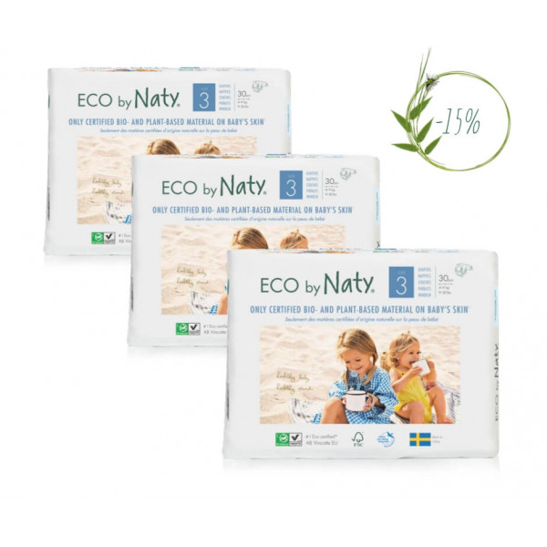 Naty Size 3 Eco Nappies For Babies 4-9 Kg  (3 Pack...