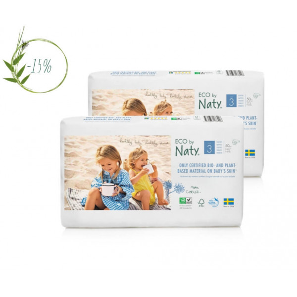 Naty Size 3 Eco Nappies For Babies 4-9 Kg economy pack  (2 Packs 15% discount)