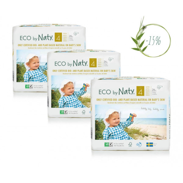 Naty Size 4 Eco Nappies For Babies 7-18 Kg (3 Pack...