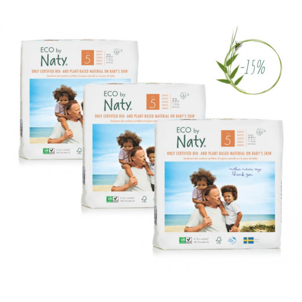 Naty Size 5 Eco Nappies For Babies 11-25 Kg (3 Pac...