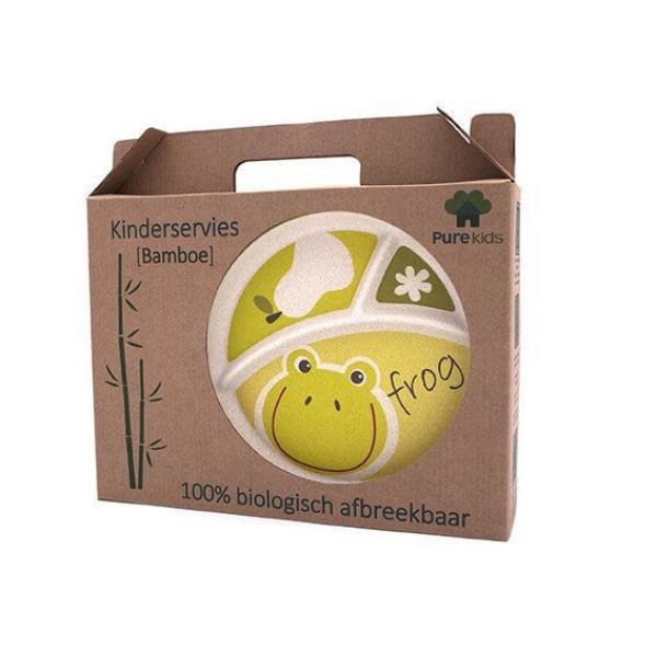 Pure Kids bambusz gyerek étkészlet – béka
