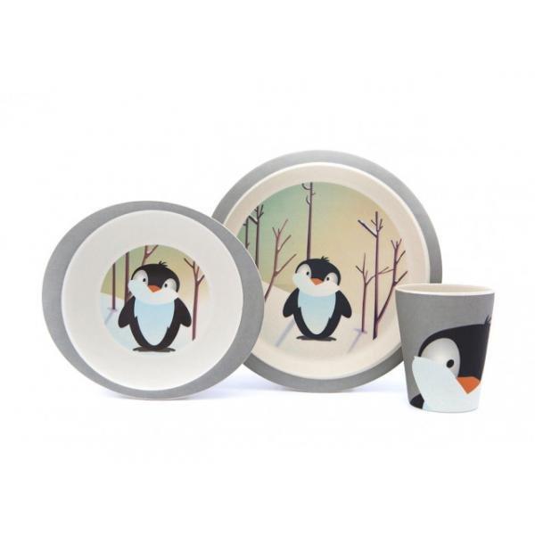 Gyermek étkészlet bambuszból, pingvin