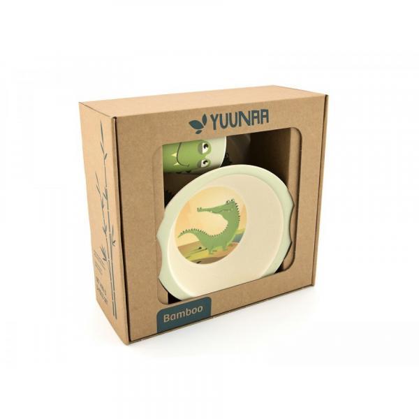 Yuunaa bambusz gyerek étkészlet – krokodil