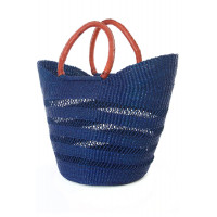 Navy Blue Ghanaian Lacework Wing Shopper with Leat...