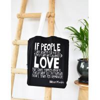 Love Comes More Naturally Mandela Tote Bag Black