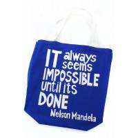 Impossible Until Done Mandela Tote Bag Blue