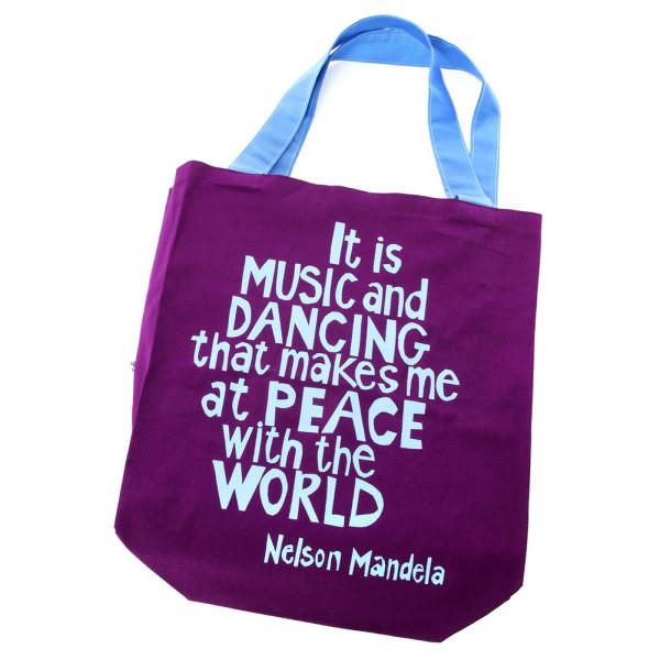 Music and Dancing Mandela Tote Bag Purple