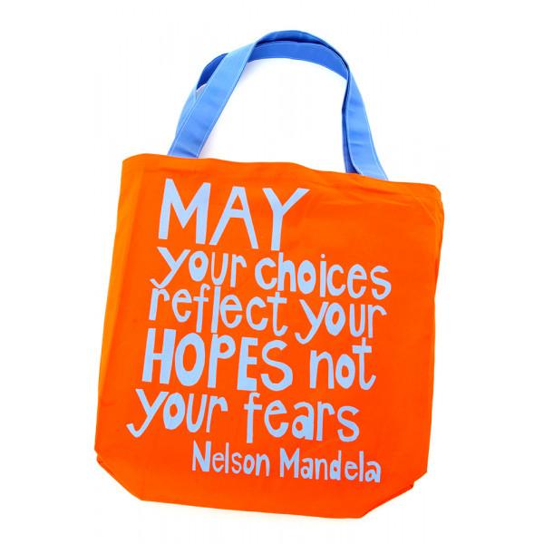 Reflect Your Hopes Mandela Tote Bag Orange