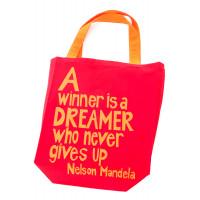 Red A Winner is a Dreamer Mandela Tote Bag