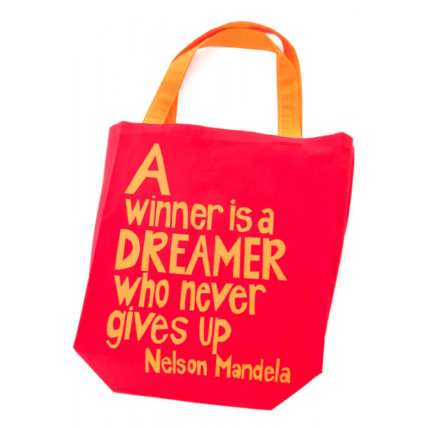 Red A Winner is a Dreamer Mandela Tote Bag