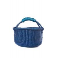 Handmade Bolga Basket small - blue