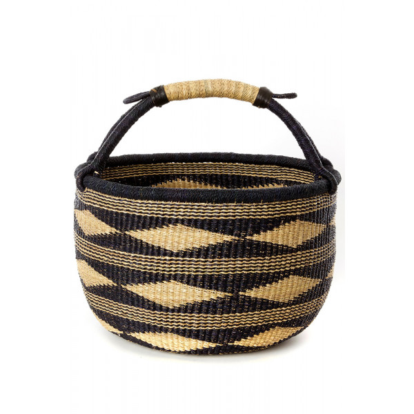 Handmade Bolga Basket - Midnight black