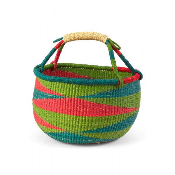 Handmade Bolga Basket - red green