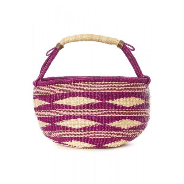 Plum Diamond Handwoven Decorative Bolga Basket
