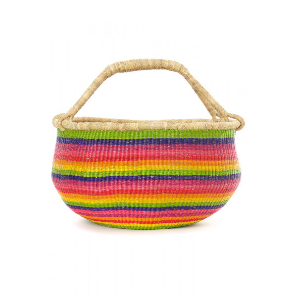 Handmade Bolga Basket - rainbow colors