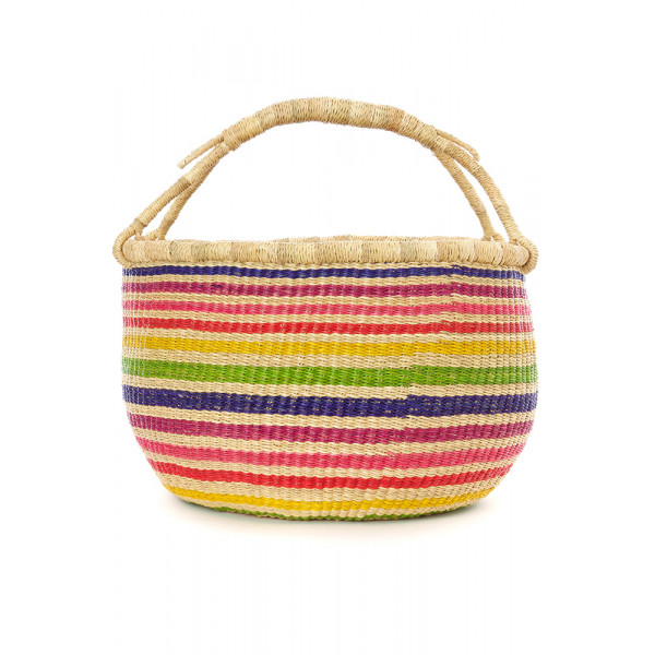 Handmade Bolga Basket - rainbow