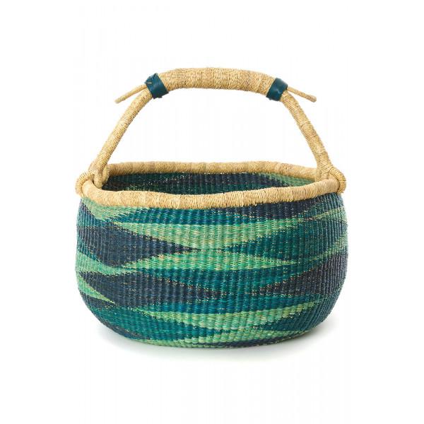 Handmade Bolga Basket - Turquoise