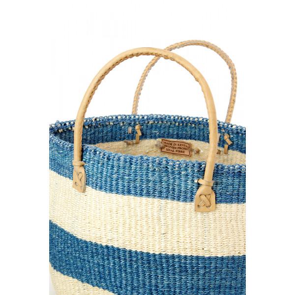 Classic Blue Striped Sisal Handbag with Leather Handles