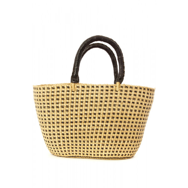 Ghanaian Checkerboard Shopper with Black Leather Handles