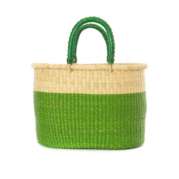 Block Bolga Shopper with Leather Handles Green