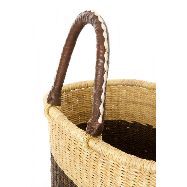 Block Bolga Shopper with Leather Handles Brown