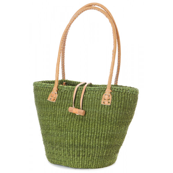 Classic Sisal and Leather Handbag in Green Hues