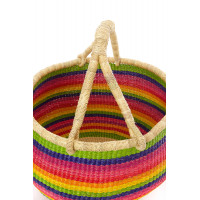 Handmade Bolga Basket - rainbow colors