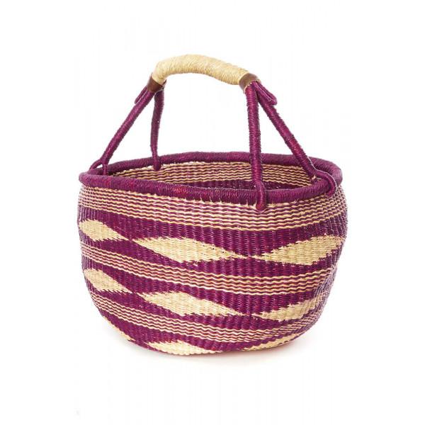 Plum Diamond Handwoven Decorative Bolga Basket