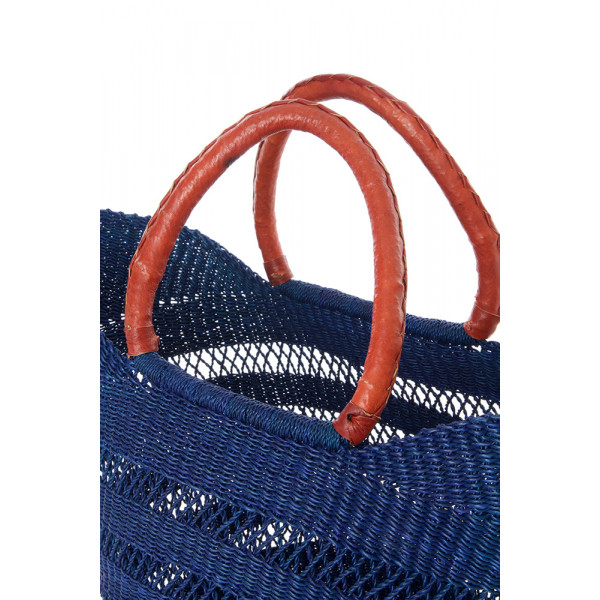 Navy Blue Ghanaian Lacework Wing Shopper with Leather Handles