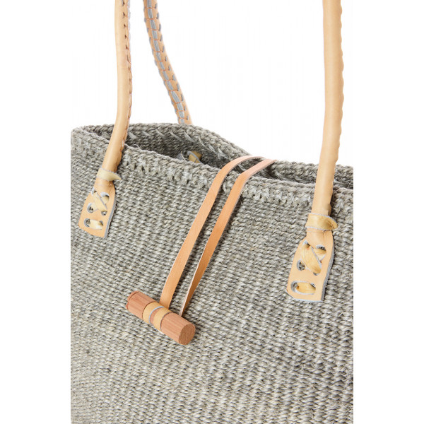 Classic Sisal and Leather Handbag in Grey Hues