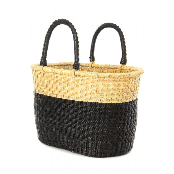 Block Bolga Shopper with Leather Handles Black