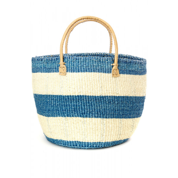 Classic Blue Striped Sisal Handbag with Leather Ha...