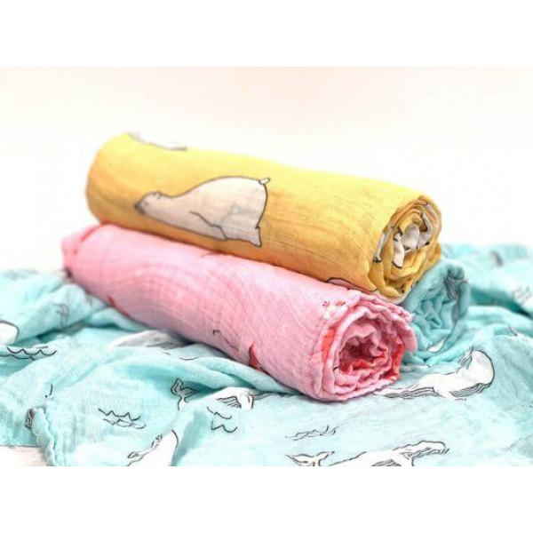Muslin swaddle – flamingo