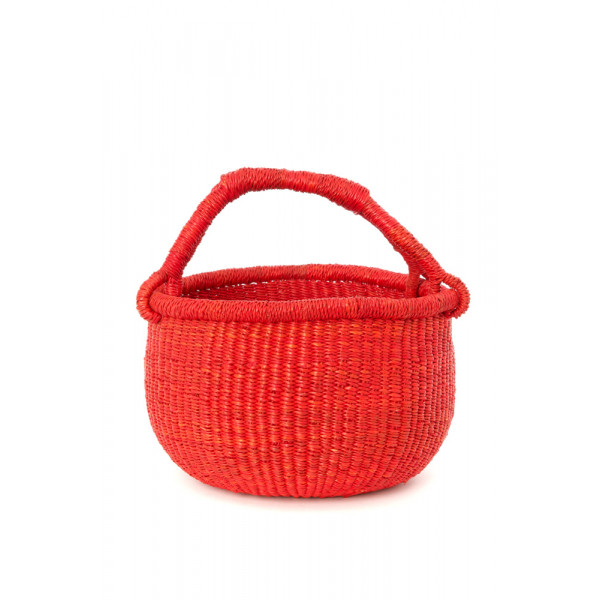 Handmade Bolga Basket small - Red