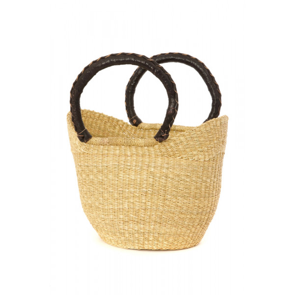 Petite Wing Shopper from Ghana with Black Leather Handles
