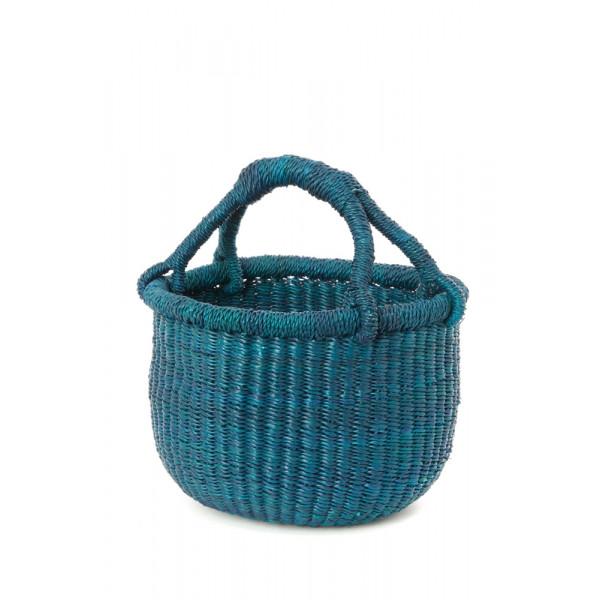 Handmade Bolga Basket small - turquoise