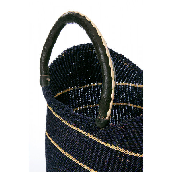 Midnight Blue Pinstripe Bolga Shopper with Leather Handles