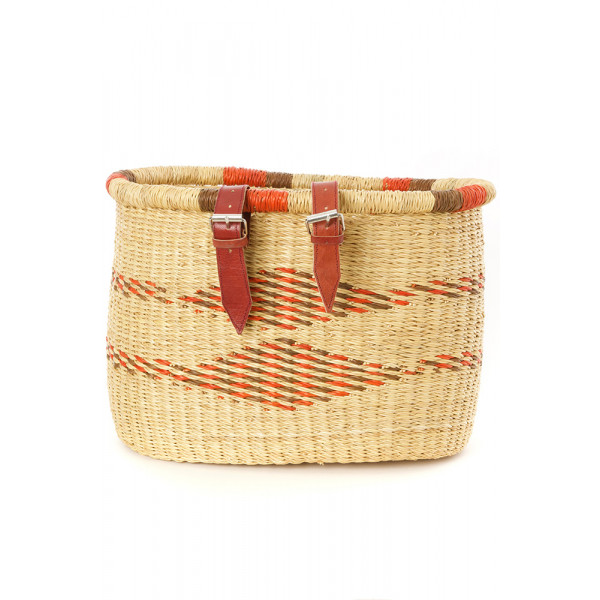 Saffron Diamond Bolga Bicycle Basket with Leather Straps
