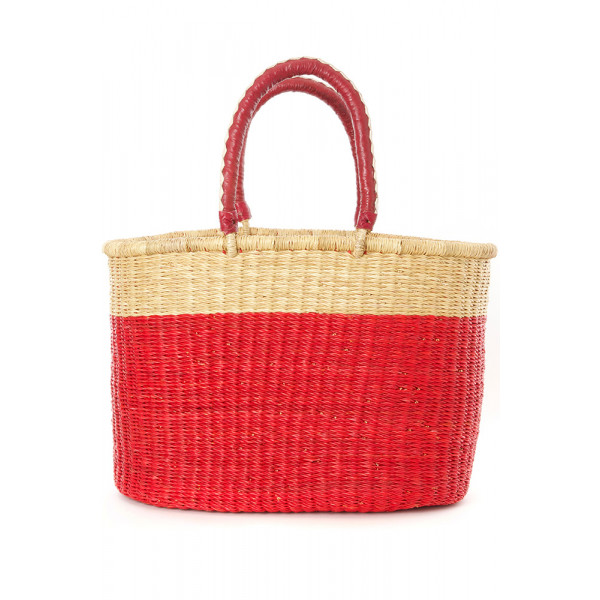 Block Bolga Shopper with Leather Handles Red