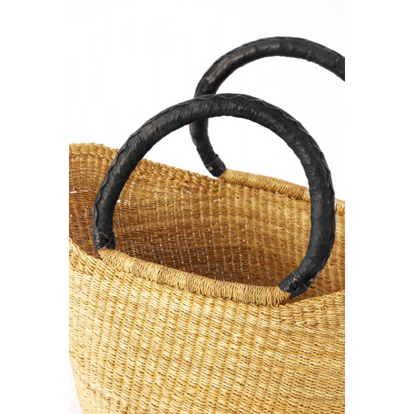 Natural Ghanaian Wing Shopper with Black Leather Handles